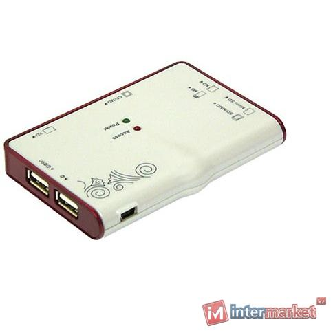 Концентратор USB + картридер Konoos UK-12, white-red